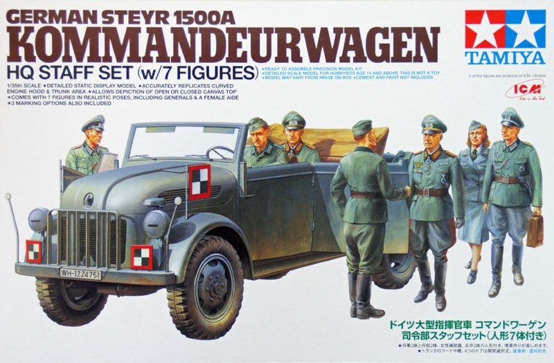 German Steyr 1500A with 7 Figures - Kommandeurwagen HQ Staff Set - Tamiya 25149 - plastic model kit - 1/35 scale