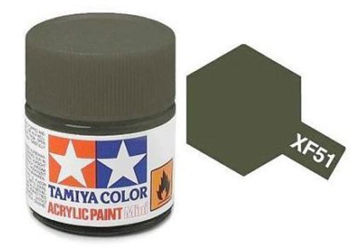 Acrylic Mini Tamiya XF-51 Flat Khaki Drab - 81751 - 10ml Bottle