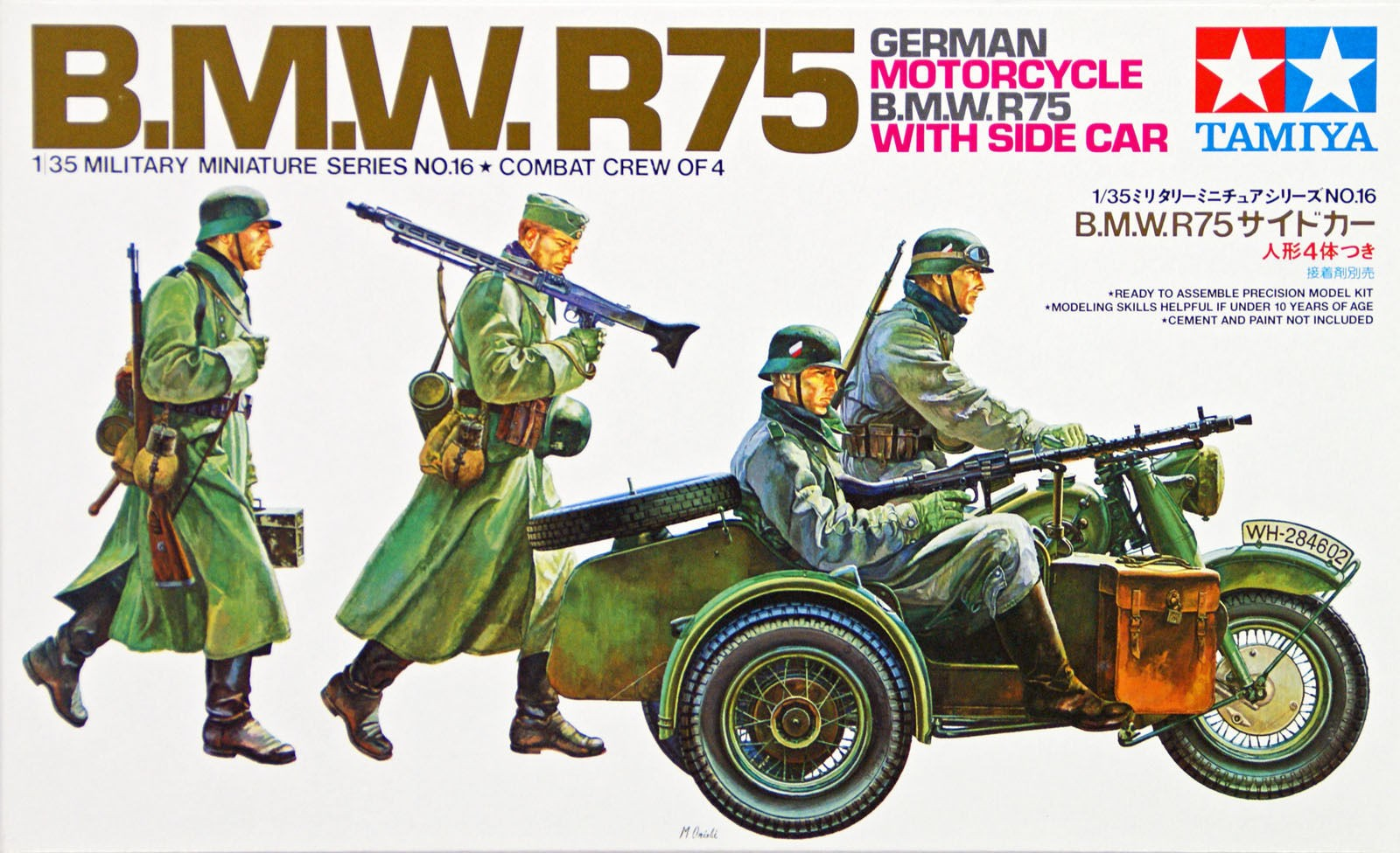 German BMW R75 with Side Car Kit  - Tamiya 35016 - plastic model kit - 1/35 scale