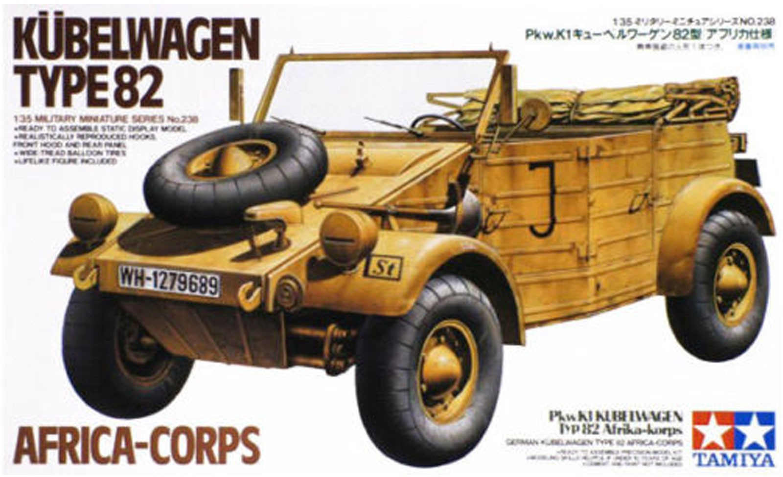 German Kubelwagen Type 82 - Africa Corps - Tamiya 35238 - plastic model kit - 1/35 scale