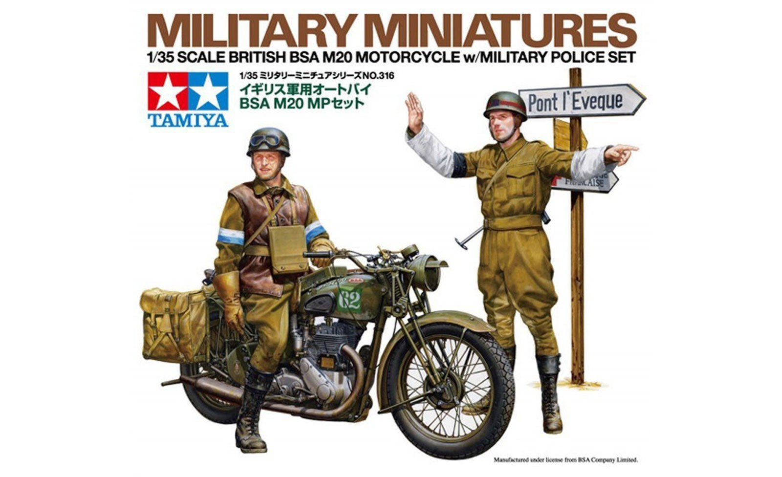 British BSA M20 Motorcycle - With Military Police Set - Tamiya 35316 - plastic model kit - 1/35 scale