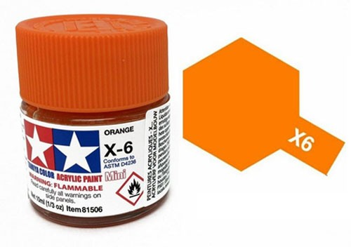 Acrylic Mini Tamiya X-6 Orange Gloss - 81506 - 10ml Bottle