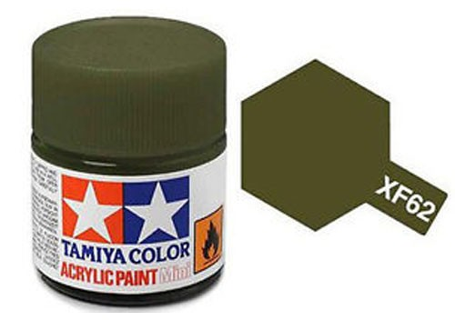 Acrylic Mini Tamiya XF-62 Flat Olive Drab - 81762 - 10ml Bottle